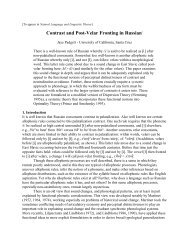 Contrast and Post-Velar Fronting in Russian* - University of ...