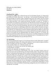 1 Philosophie der Antike (Bühler) WS 2007/8 Handout I Zum Begriff ...