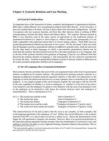 Chapter 4: Syntactic Relations and Case Marking