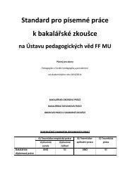 Standard pro písemné práce k bakalářské zkoušce
