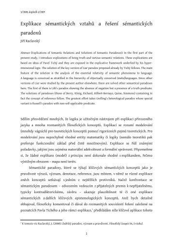 Explikace sémantických vztahů a řešení sémantických paradoxů