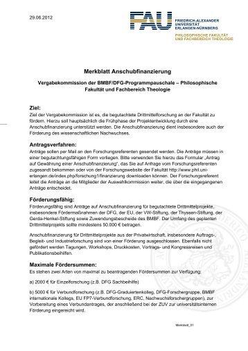 Merkblatt Anschubfinanzierung - Philosophische Fakultät - Friedrich ...