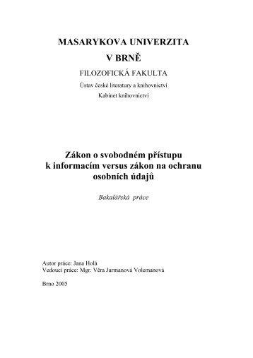 MASARYKOVA UNIVERZITA V BRNĚ - Filozofická fakulta MU ...