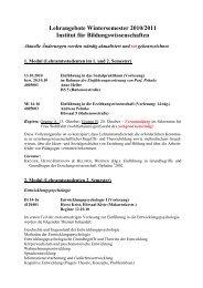 Kommentiertes Vorlesungsverzeichnis WiSe 2010/2011