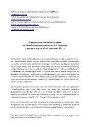 Gutachten zum Evaluationsverfahren am Historischen Institut der ...