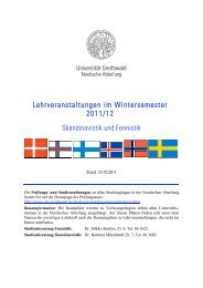 Lehrveranstaltungen im Wintersemester 2011/12 Skandinavistik und ...
