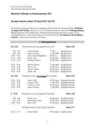 Mündliche Prüfungen im Sommersemester 2012