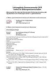 Kommentiertes Vorlesungsverzeichnis Sommersemester 2010