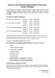 Seminar zum Orientierungspraktikum: Einschrei- bung in Gruppen