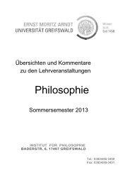 Kommentiertes Vorlesungsverzeichnis - Philosophische Fakultät