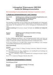 Kommentiertes Vorlesungsverzeichnis Wintersemester 2009/10