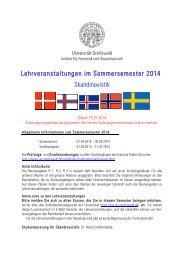 Lehrveranstaltungen im Sommersemester 2014 Skandinavistik