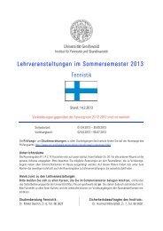 Lehrveranstaltungen im Sommersemester 2013 Fennistik