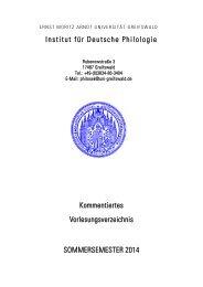 Kommentiertes Vorlesungsverzeichnis Sommersemester 2014