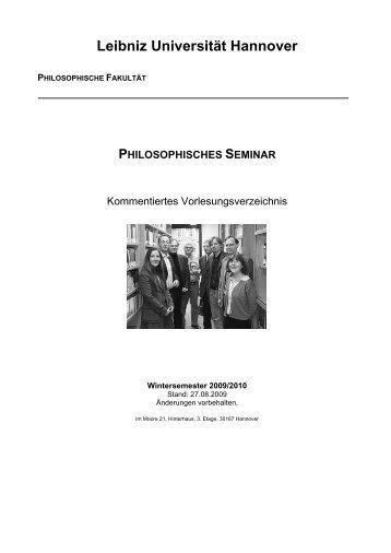 Vorlesungsverzeichnis für das Wintersemester 08/09