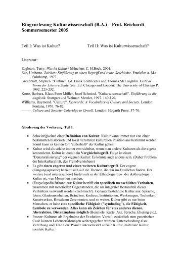 Ringvorlesung Kulturwissenschaft (B