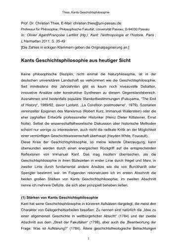 Kants Geschichtsphilosophie aus heutiger Sicht - Philosophische ...