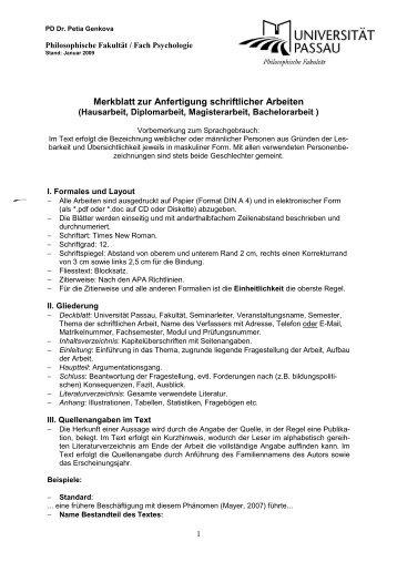 Merkblatt Zur Anfertigung Der Schriftlichen Hausarbeit