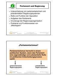 Parlament und Regierung Unterscheidung von parlamentarischem ...