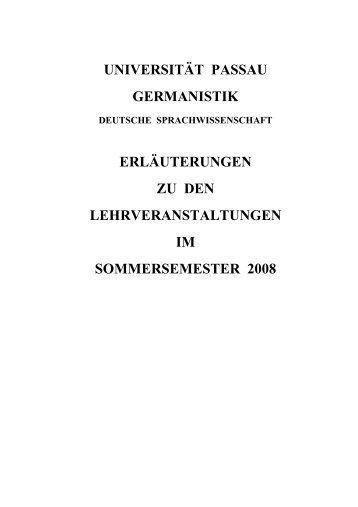 Sommersemester 2008 - Universität Passau