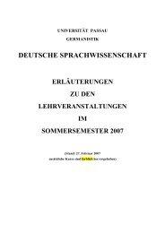 Sommersemester 2007 - Universität Passau