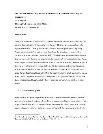 Miracles and Models: Why reports of the death of Structural Realism ...