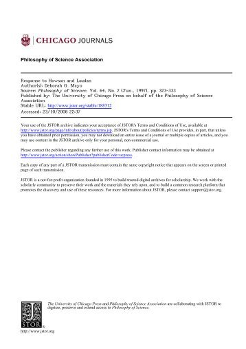 Response to Howson and Laudan - Department of Philosophy