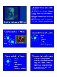 On the Nature of Things Characteristics of Atoms Characteristics of ...