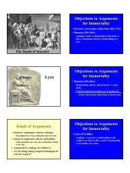Objections to Arguments for Immortality Objections to Arguments for ...