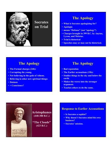Socrates on Trial The Apology The Apology The Apology