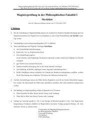 Magisterprüfung in der Philosophischen Fakultät I Merkblatt