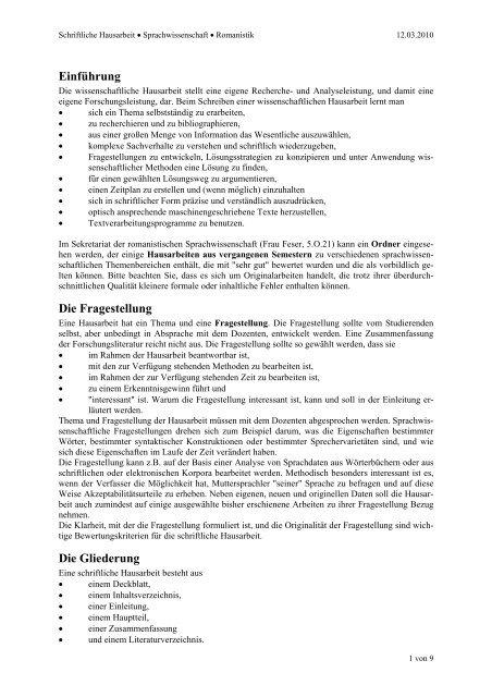 Einführung Die Fragestellung Die Gliederung Universität