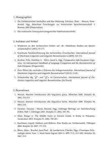 1. Monographien 2. Aufsätze und Artikel 3. Rezensionen