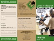 Summer Institute - Clas News and Publications - University of Florida