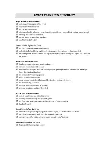 Download Event Planning Checklist (PDF)   News And Publications