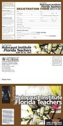Holocaust Institute Florida Teachers - University of Florida