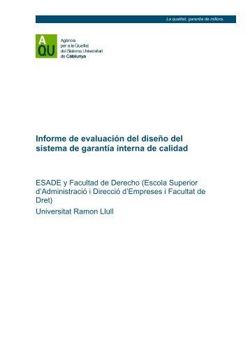 Informe de evaluación del diseño del sistema de garantía ... - Esade
