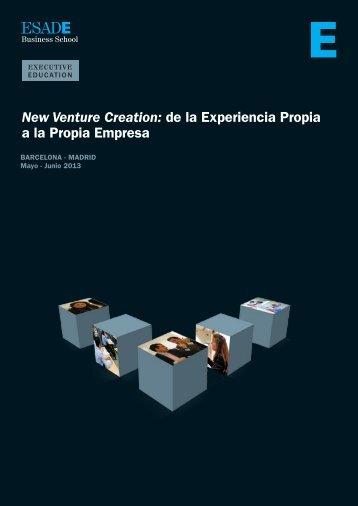 New Venture Creation: de la Experiencia Propia a la Propia ... - Esade