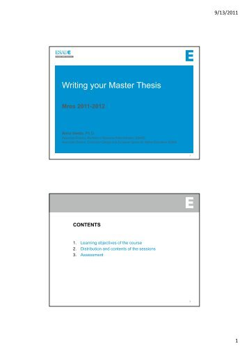 Writing your Master Thesis - Esade