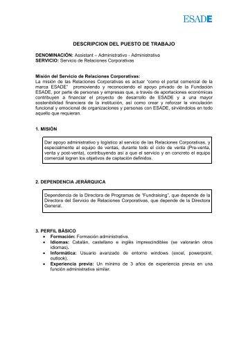 DESCRIPCION DEL PUESTO DE TRABAJO - Esade