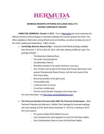 BERMUDA RESORTS OFFERING EXCLUSIVE DEALS TO ...