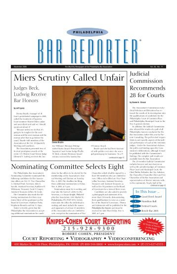 November 2005 - Vol. 34, No. 11 - Philadelphia Bar Association