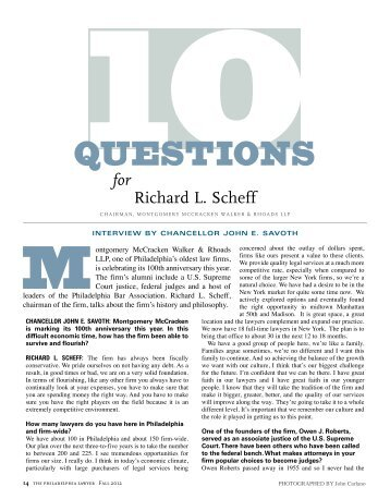 10 Questions for Richard L. Scheff - Philadelphia Bar Association