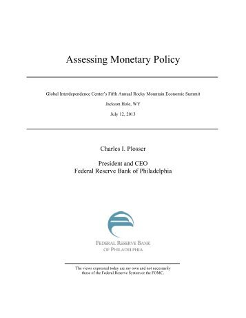 Assessing Monetary Policy - Federal Reserve Bank of Philadelphia
