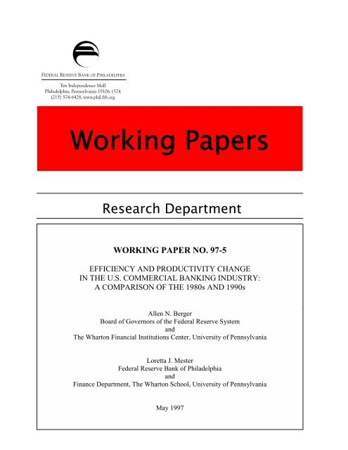 Working Paper 97-5/R - Federal Reserve Bank of Philadelphia