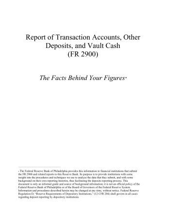 The Facts Behind Your Figures - Federal Reserve Bank of ...
