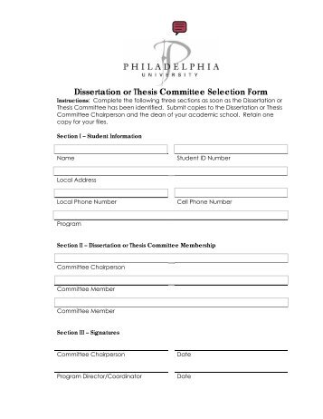Dissertation and Thesis Forms - Philadelphia University