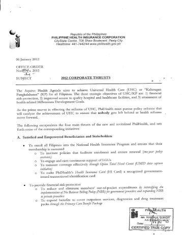 2012 - Philippine Health Insurance Corporation