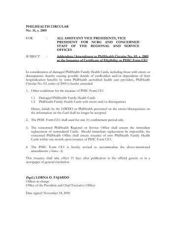 PHILHEALTH CIRCULAR No. 31, s. 2005 FOR - Philippine Health ...