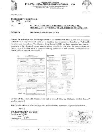 PhilHealth CARES Form - Philippine Health Insurance Corporation